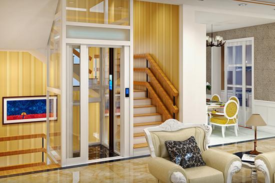 楼梯中间安装别墅小型电梯